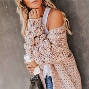 Sweaters - Honeycomb Sleeve Fuzzy Cardigan Knit Sweater Taupe